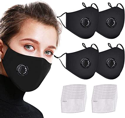 Haze Dust Face Health for Childrens Cotton Face Bandanas with Replaceable Activated Carbon Filter Face Macks with Breathing Valve