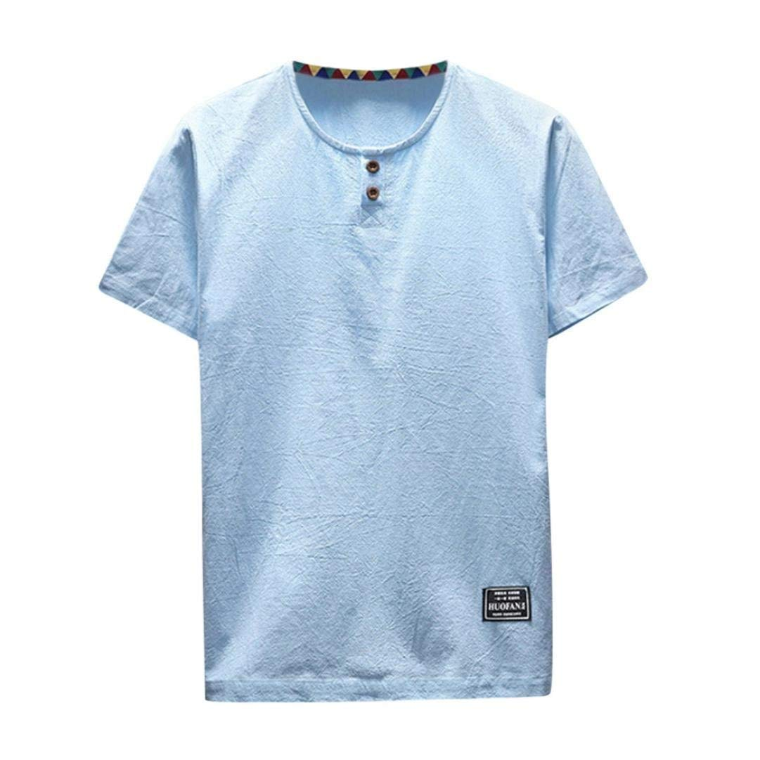 Amazon.com: Easytoy Mens Casual Linen and Cotton Short Sleeve Loose Fit Crew Neck T Shirt Top: Health & Personal Care