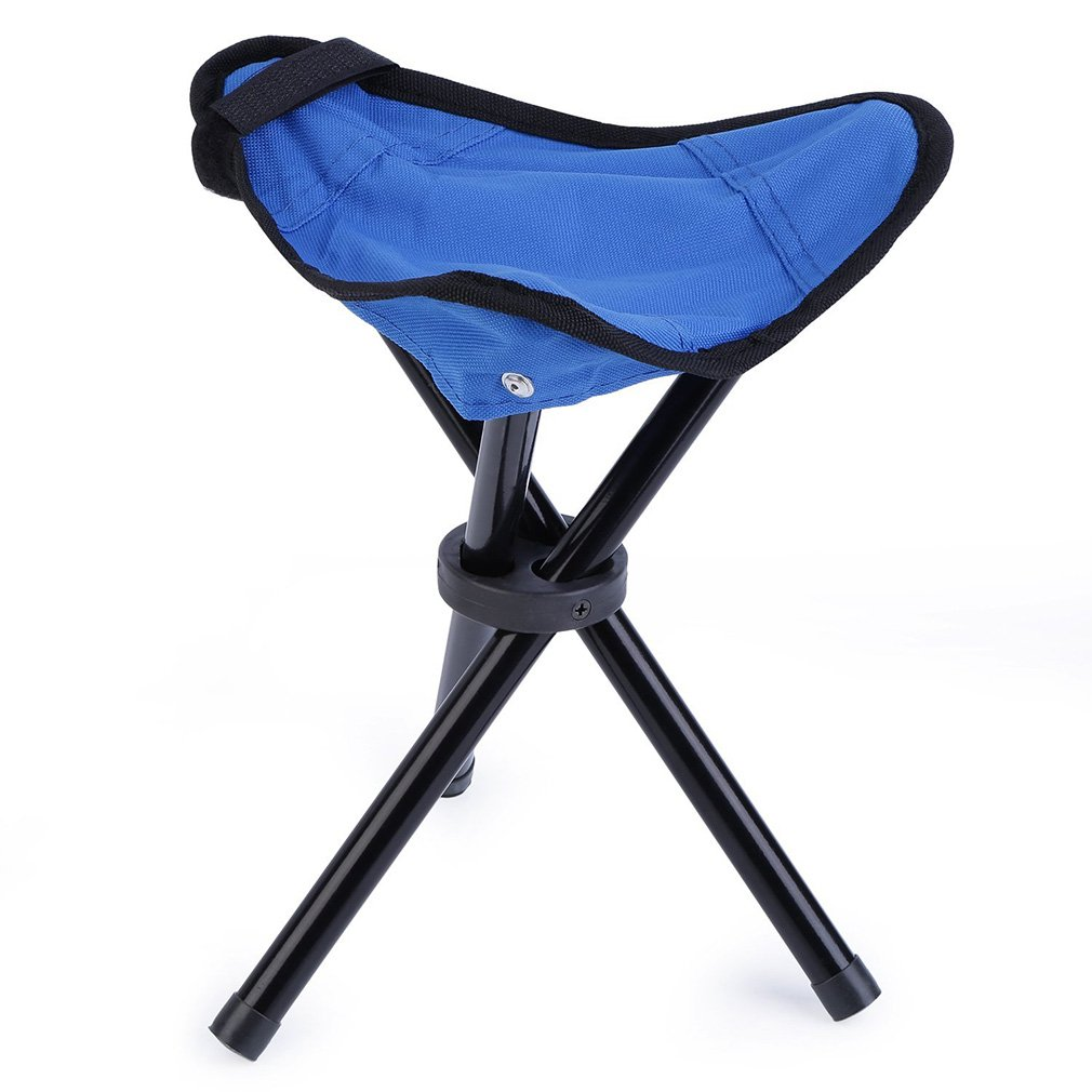 OUTAD Folding Portable Tri-Leg Stool, Blue, 11.4 x 11.4 x 15.7 Inches