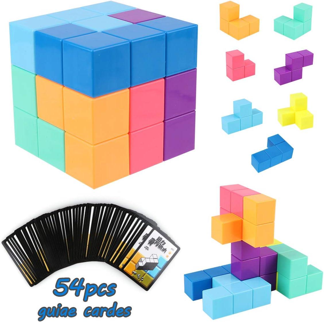 PROACC magn/éticos Cubo m/ágico Puzzle Bloques de construcci/ón magn/éticos 7 Ladrillos magn/éticos /& 54 Tarjetas Inteligentes Assembled Speed Cube Juguete para Ni/ños Juego de Entrenamiento Cerebral