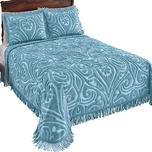 Collections 100% Cotton Elegant Parkside Plush Scroll Chenille Bedspread Bedding with Fringe Trim, Cornflower Blue, (Tufted Chenille Bedding)