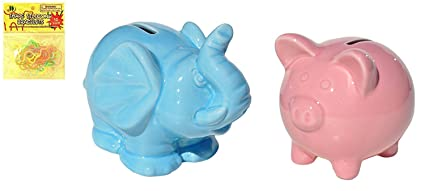 Best Set Of 2 Ceramic Pink Piggy And Blue Elephant Coin Bank Fun Holiday Last
