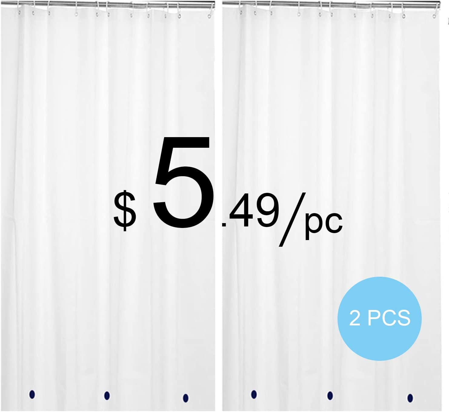 HARBOREST PEVA Shower Curtain Liner 72 x 72 Clear Pack of 2 - Waterproof Heavy Duty 8 Gauge with Grommets and Magnets