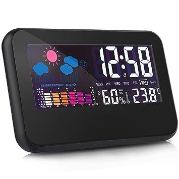 Reloj despertador termómetro digital Medidor de humedad higrómetro Digital termómetro pantalla LCD grande control de voz