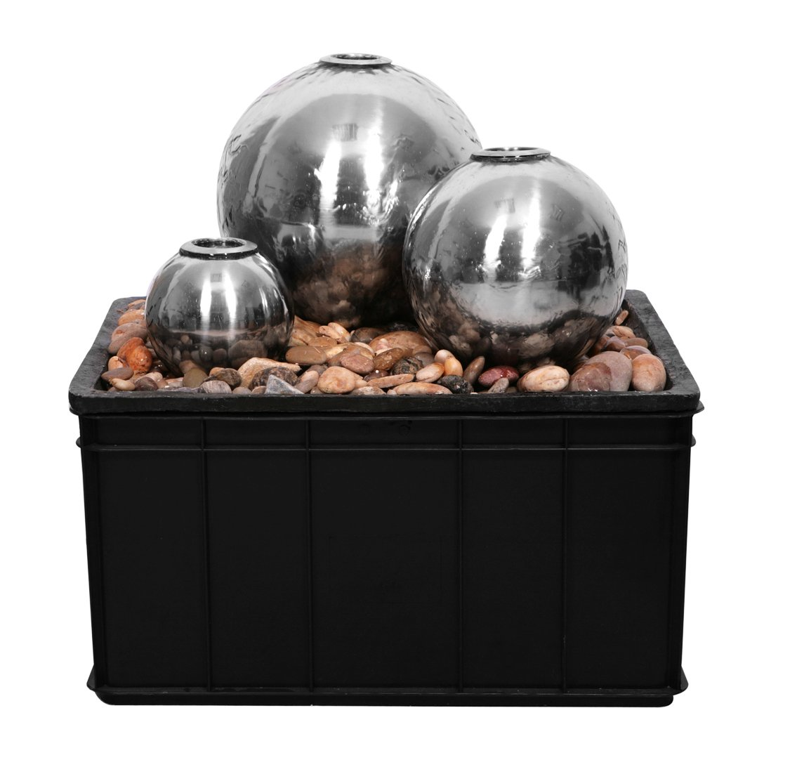 Magma Triple Stainless Steel Spheres Fire and Water Feature
