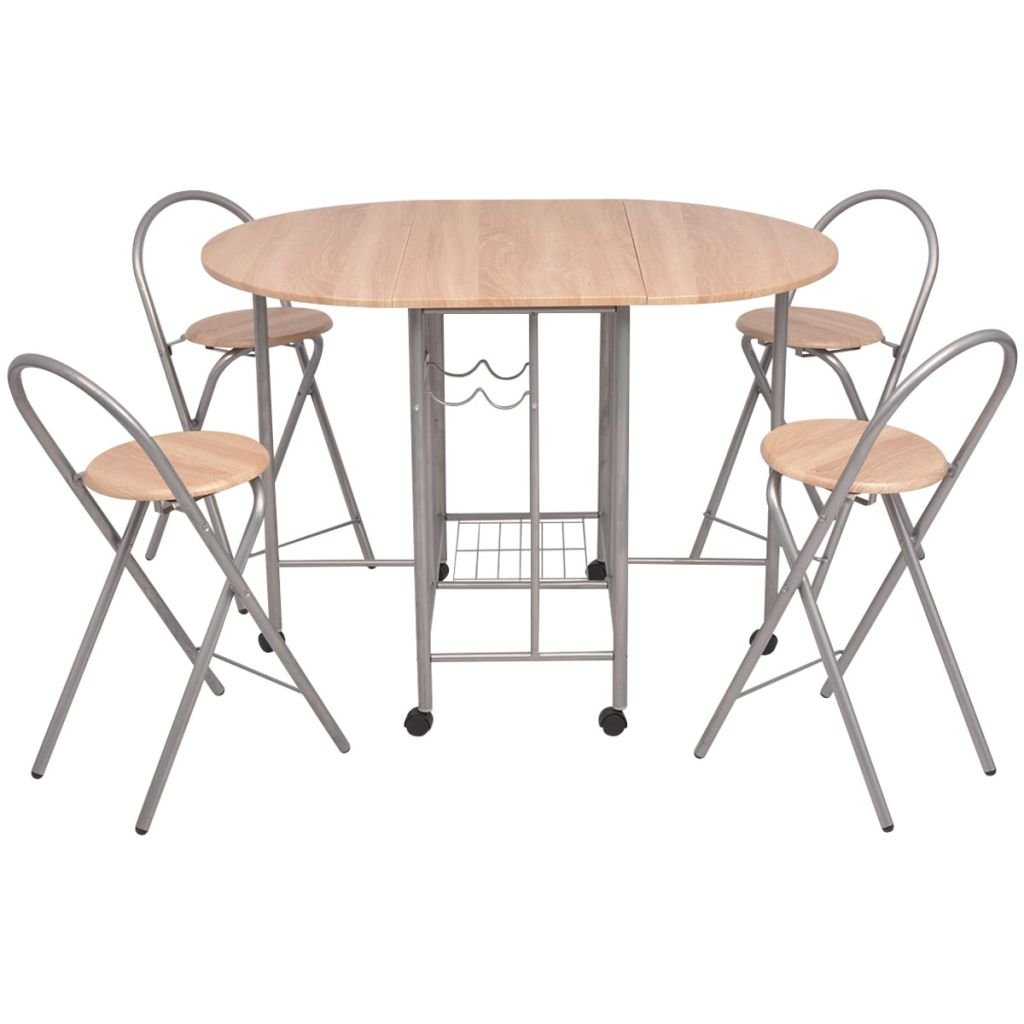 Festnight Folding Kitchen Breakfast Bar Set Table and Chair Set Dining Set MDF 5 PCS