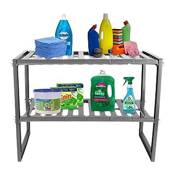 Mr Kitchen Rack | White 2 Tier Space Saving Expendable Under Sink Shelf  Adjustable Cabinet
