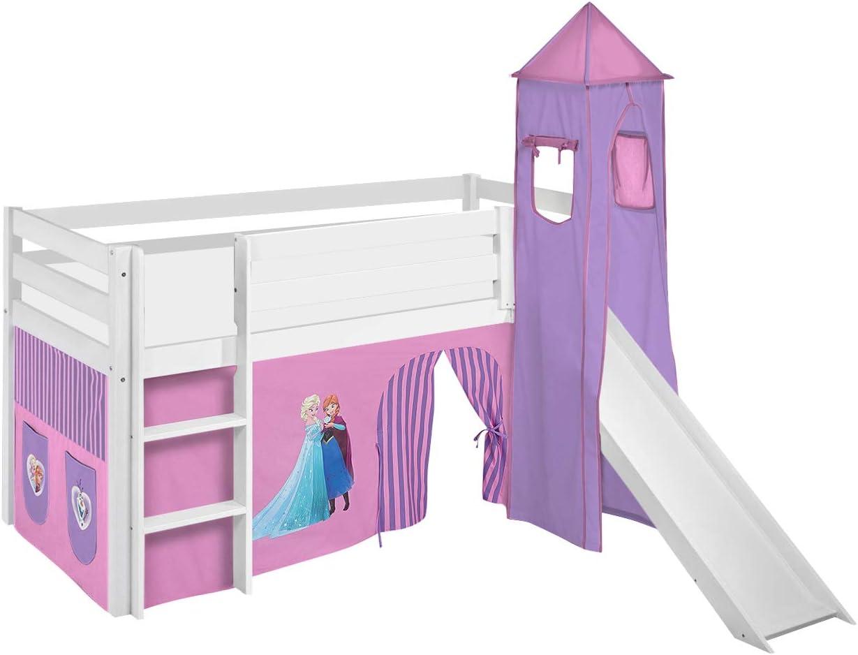 Lilokids Jelle Estructura de Cama alta de Frozen, Lila – Color Blanco – Con Torre, tobogán y cortina