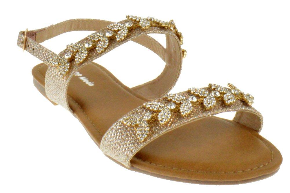 Top Moda Hydra 3 Womens Rhinestone Glitter Flat Sandals Champagne 8.5