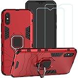 BestMX Funda para Xiaomi Redmi 9A Case 2 pcs Protector de Pantalla de Cristal Templado, Híbrida Rugged Armor Choque Absorción