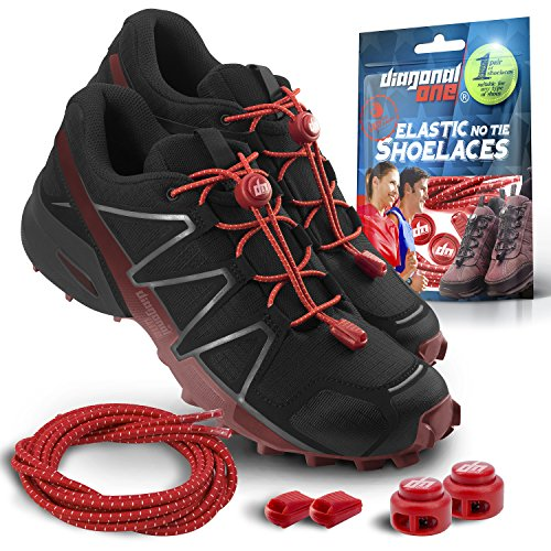DIAGONAL ONE Elastic Shoe Laces for Men and Women, Compatible with Sneakers, Converse, Trainers, and Casual Footwear - No Tie Shoelaces Suitable for Kids, Adults, Teenagers and Seniors (Red)