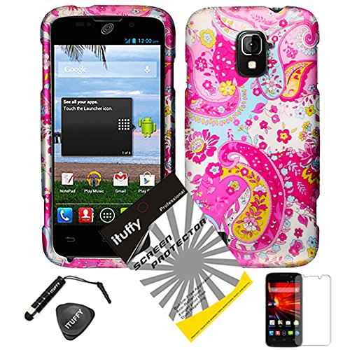 4 items Combo: ITUFFY (TM) LCD Screen Protector Film + Mini Stylus Pen + Case Opener + Pink Blue Yellow Paisley Hibiscus Daisy Flower Design Rubberized Snap on Hard Shell Cover Faceplate Skin Phone Case for ZTE Majesty / Z796c - StraightTalk (Mandragora)