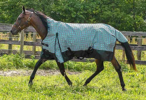 (HORZE Pretty Plaids High Neck 1200 Denier Turnout Sheet - Thunder)