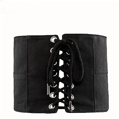Y-WEIFENG Cinturón de Mujer Botones de Tela Oxford Cinturón para ...
