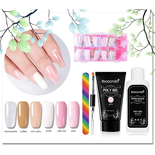 Amazon.com: niceEshop(TM) Poly Gel Nail Extension Set,Quick Building Gel + Nail Tips Mold + Nail File + Poly UV Gel Nail Liquid Slip Solution + Poly Gel ...