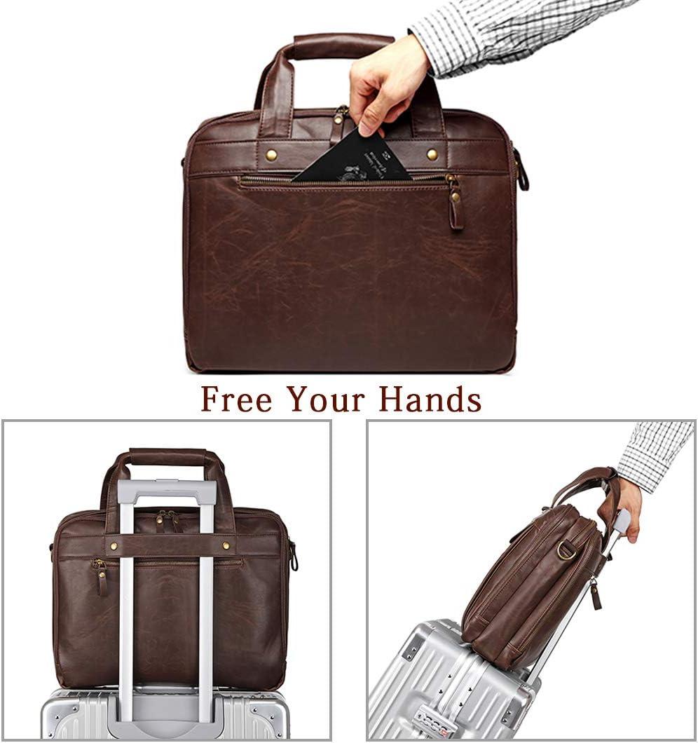 Leather Briefcase for Men Computer/Bag Laptop Bag Waterproof Retro Business Travel Messenger Bag Large Tote 15.6 Inch Khaki Green