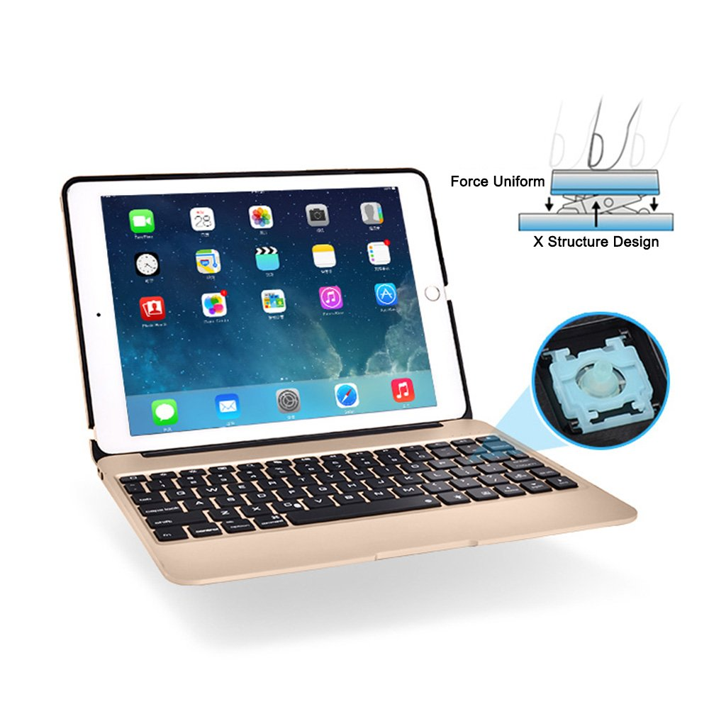 YOUCable iPad Pro 9.7 iPad Air 2 Keyboard Bluetooth 7-color LED Backlit Aluminum Slim Wireless Keypad with Built-in 2800mAh Power Bank for iPad Pro 9.7 / iPad Air 2 (gold) by YOUCable (Image #5)