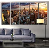 New York Sundown Canvas Art Print, Large Wall Art City Landscape Art, Extra  Large