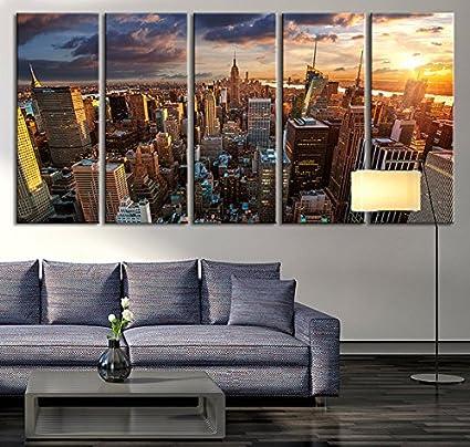 New York Sundown Canvas Art Print, Large Wall Art City Landscape Art, Extra  Large
