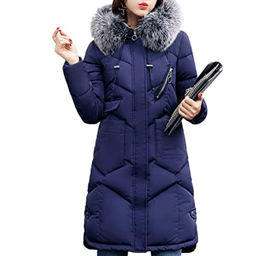 Zhuhaitf comodos abrigos de mujer Classic Retro Down Winter Jacket Cotton Feather Collar Long Style ...