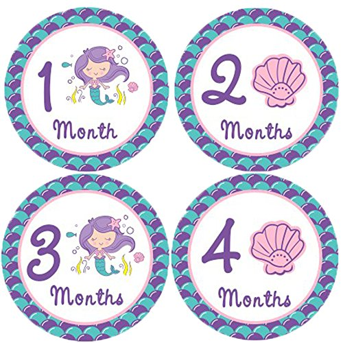 Mermaid Monthly Baby Stickers, Girls Bodysuit Stickers Infant Month Stickers, Great Shower Excellent Baby Photo Props, 12 Pieces