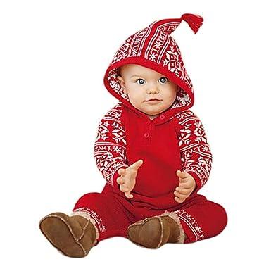 c32d260c0 Amazon.com  Dreammimi Newborn Baby Christmas Printing Hooded Rompers ...