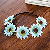 Sunflower Gradient Festival Wreath Stretch Elasticity Headband Bohemian Orange Floral Flower Crown Wedding Hair Band Sky Blue