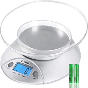 Etekcity Digital Kitchen Weight for Cooking, Baking and Dieting, Removable Bowl, 11lb/5kg, Backlit Display