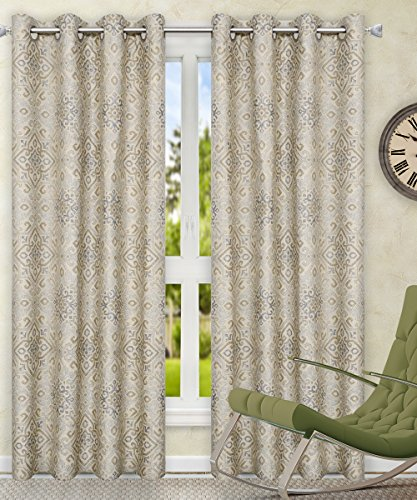 Ellis Curtain Miramar Medallion Tile Print 100-Percent Cotton Twill (Grommet Top Panels, 84 x 84
