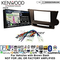 Volunteer Audio Kenwood DNX874S Double Din Radio Install Kit with GPS Navigation Apple CarPlay Android Auto Fits 2008-2013 Non Amplified Toyota Highlander (Brown)
