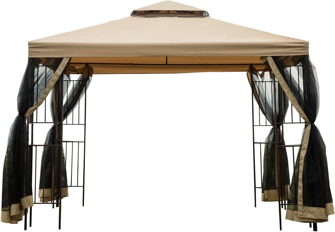 Sunnyglade Garden Gazebo 10' x 10' Patio Backyard Double Roof Vented Gazebo Canopy