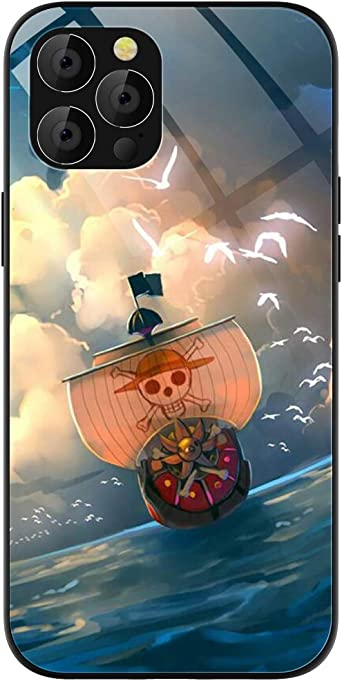 Phone Case Compatible with iPhone 12 Pro Max, Anime One Piece Thousand Sunny Pattern Tempered Glass Back Cover Soft TPU Anti Scratch Bumper Design ...
