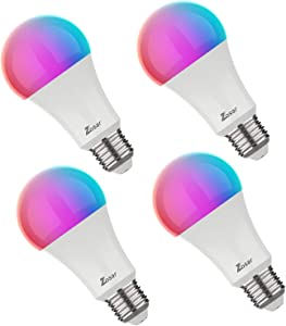 Zosar Smart WiFi Light Bulb, Dimmable LED RGBCW Multi-Color Changing, 810Lm A19/E26 9W Compatible with Alexa and Google Home Assistant, No Hub Required (Pack-4)