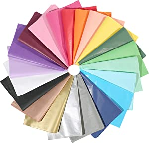 UNIQOOO 200 Sheets 21 Colors Tissue Paper Gift Wrap Bulk, Assorted Rainbow Color Mix Gift Wrapping Paper, Great for Wedding, Gift Bags - Cover All Your Gifting & Crafts Idea Needs - 20X26