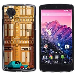 Be Good Phone Accessory // Dura Cáscara cubierta Protectora Caso Carcasa Funda de Protección para LG Google Nexus 5 D820 D821 // Deco Car Brown Teal City Building