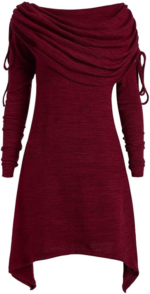 Talla Extra Sudadera Sin Capucha Mujer Largo Blusas Camiseta de Manga Larga Cuello Redondo Suelto Túnica Casual Basic Pull-Over Tops Color Sólido Túnica de Cuello Plegable riou