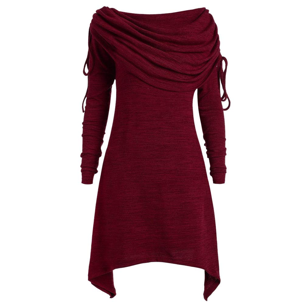Funnygals - Womens Ruched Foldover Collar Tunic Top Dress Winter Autumn Baggy Ladies Long Sleeve Blouse Sweatshirt Red by Funnygals - Clothing