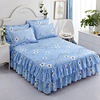 Zhiyuan Two Layers Ruffle Bed Skirt Bedspread and Pillowcases Set