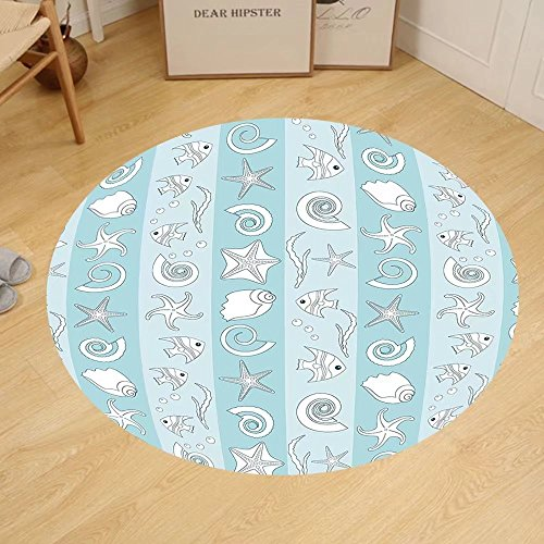 Custom Theme Mat (Gzhihine Custom round floor mat Nautical Marine Theme Sea Animals Fishes Shells on Striped Blue Background Bedroom Living Room Dorm Baby Blue Light Blue White)