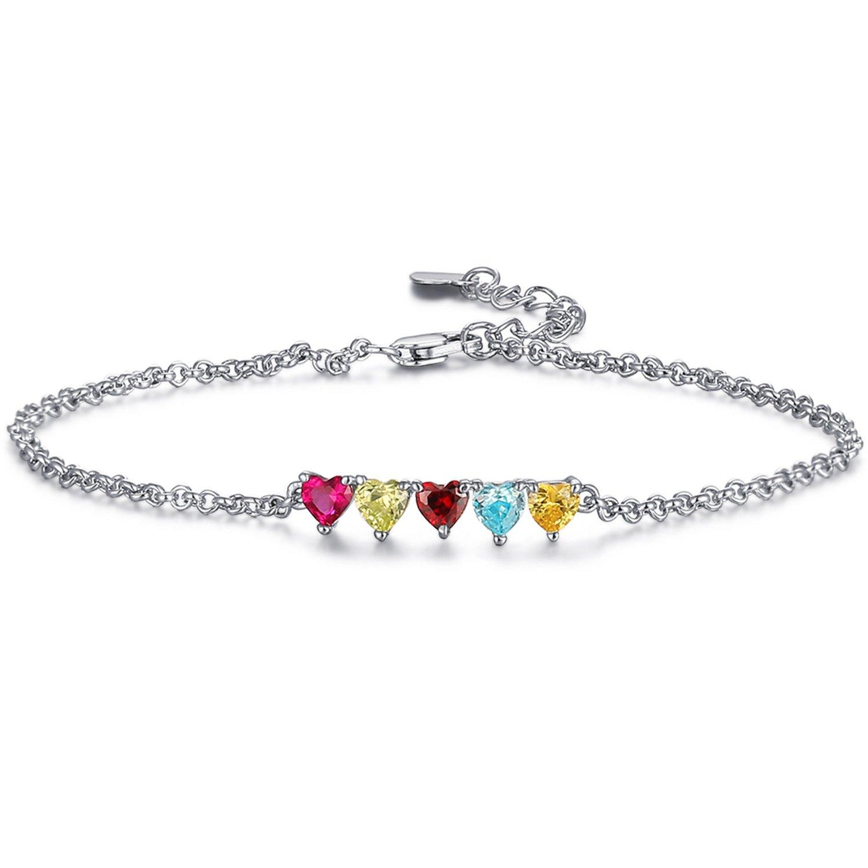 Caperci Adjustable Heart Multi Gemstone Sterling Silver Bracelet for Women, 7''