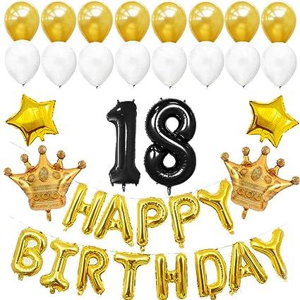 Amazon.com: Globos de látex de 18 cumpleaños para decoración ...