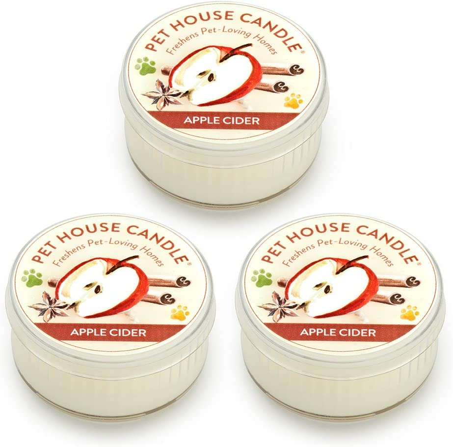 One Fur All Pet House Mini Candle Set, Pack of 3 - Apple Cider - Pet Odor Eliminator Candle, Burn Time - 10-12 Hours Pet Candle, Non-Toxic, Allergen-Free & Ideal for Smaller Spaces