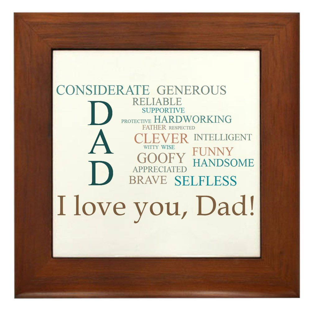 I Love You, Dad! - Framed Tile, Decorative Tile Wall Hanging