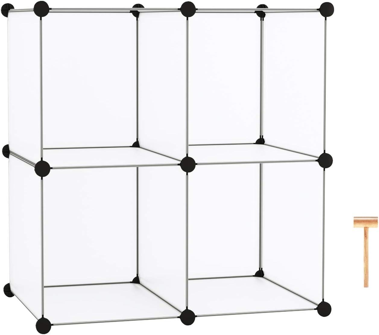 "C&AHOME Cube Storage Organizer, 4-Cube Shelving Units, DIY Closet Storage, Modular Book Shelf, Ideal for Bedroom, Living Room, Office, 24.8""L x 12.4""W x 24.8""H Translucent White"