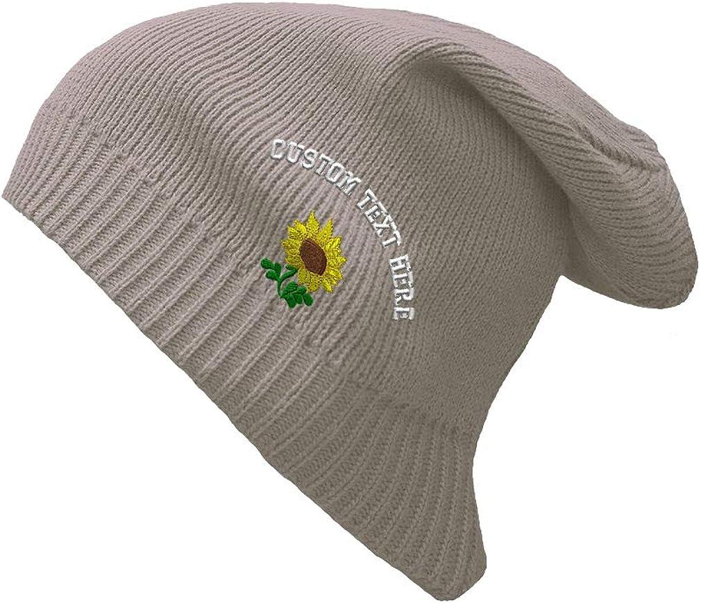 Custom Text Sewed Plants Fringe Sunflower Unisex Organic Cotton Slouch Beanie