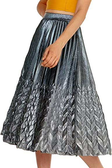 LUBITY Femmes Taille Haute Jupe Plis accordéon Midi Jupe