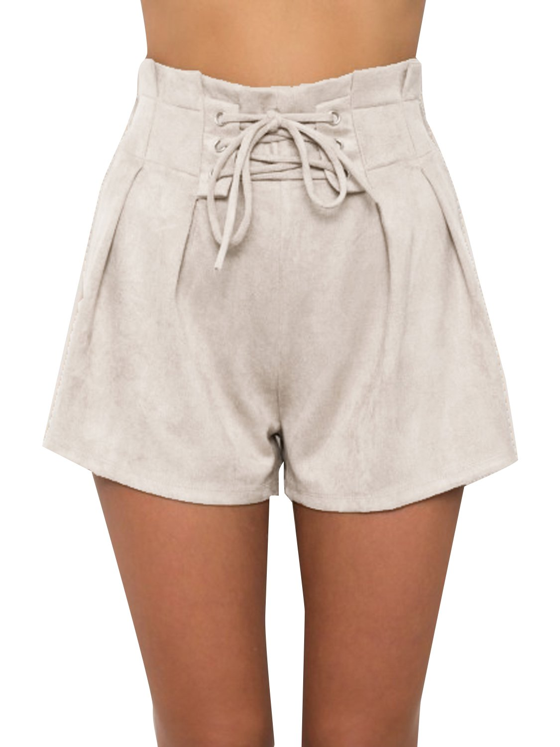 Simplee Women's Winter Casual Loose Faux Suede High Waisted Lace up Shorts