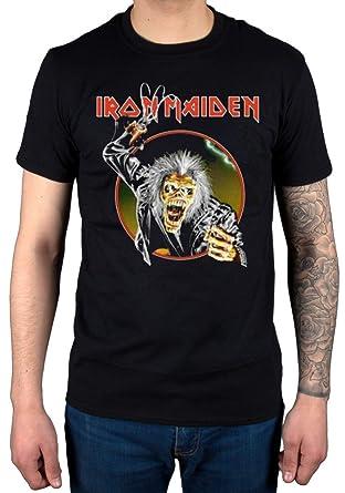 cce63010 AWDIP Men's Official Iron Maiden Eddie Hook T-Shirt Album Heavy Metal Band  Rock Black