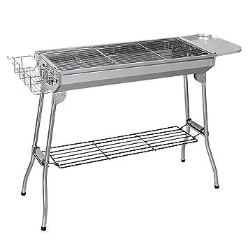 WLHW Planchas eléctricas Barbacoa de acero inoxidable de carbón de leña plegable al aire libre parrilla portátil estufa de barbacoa estufa gran cinco o más: ...
