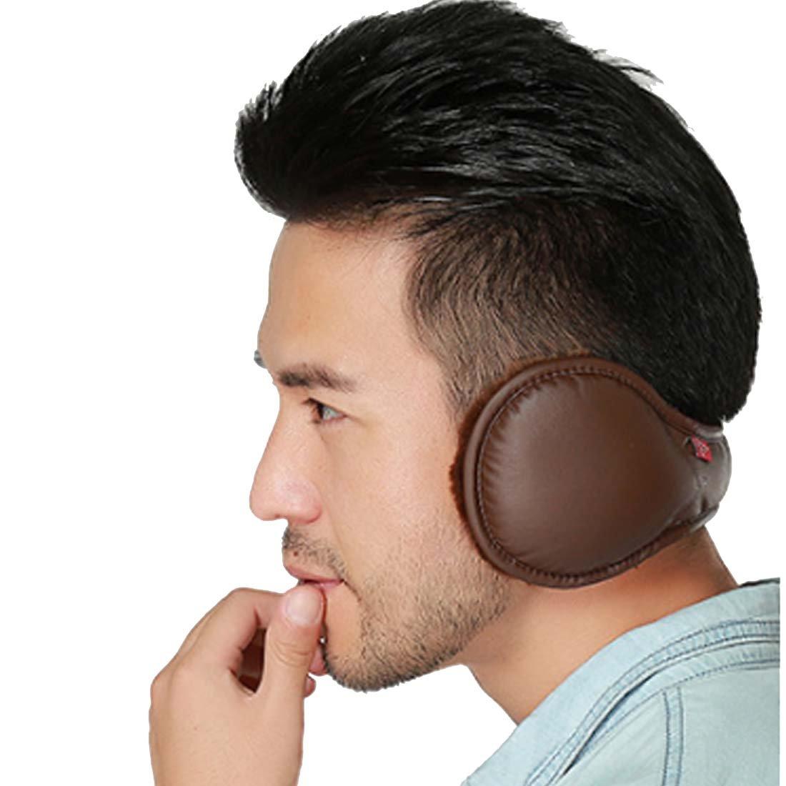 LerBen Men Women Foldable PU Leather Earmuff Winter Warm Faux Furry Behind Head Ear Warmer YN-11034
